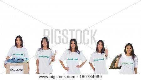 Digital composite of volunteers girl