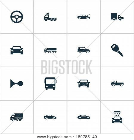 Vector Illustration Set Of Simple Auto Icons. Elements Steering Wheel, Tour Bus, Lorry Stop And Other Synonyms Cargo, Public And Steering.