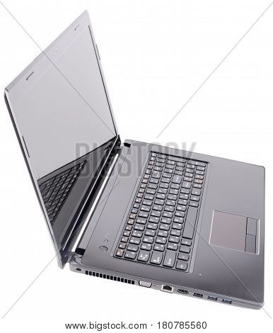 Open laptop (notebook) isometric view isolated on the white background