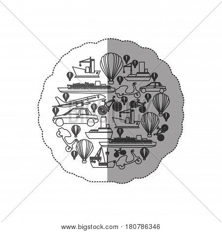 sticker contour circular pattern formed by means transport vector illustration