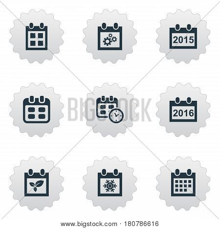 Vector Illustration Set Of Simple Plan Icons. Elements Reminder, Snowflake, Date And Other Synonyms Winter, Spring And Agenda.