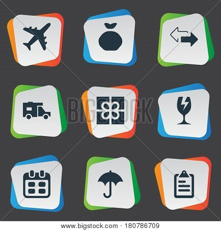 Vector Illustration Set Of Simple Delivery Icons. Elements Day, Gingham, Holdall And Other Synonyms List, Shipping And Holdall.