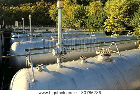 Large Tanks Of A Methane Gas Storage For Energy Supply