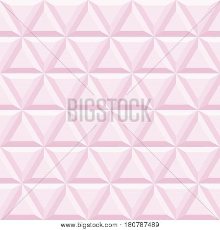 Seamless vector background with pink volume triangles. Modern ornament with volume repeating shapes. Geometric pattern