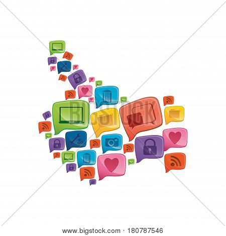 colorful pattern abstract shape formed by callout social icons vector illustration