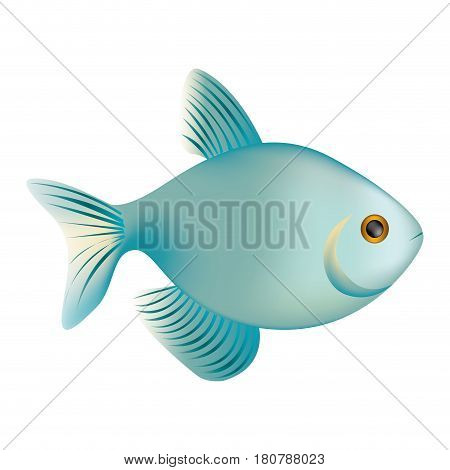colorful realistic fish aquatic animal icon vector illustration