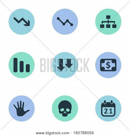 Vector Illustration Set Of Simple Crisis Icons. Elements Line Chart, Descending, Graph Decreases And Other Synonyms Diagram, Date And Downward.