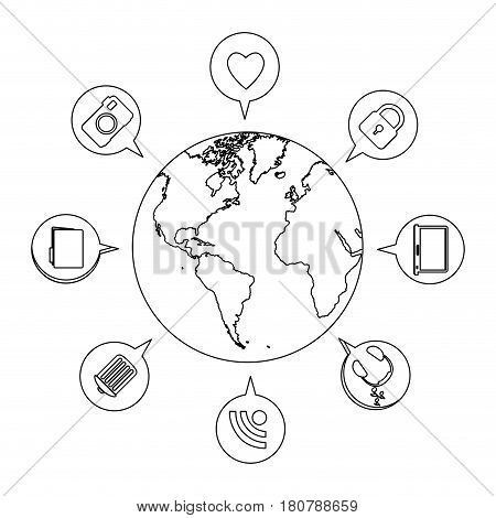silhouette earth world with circular dialogue social icons vector illustration