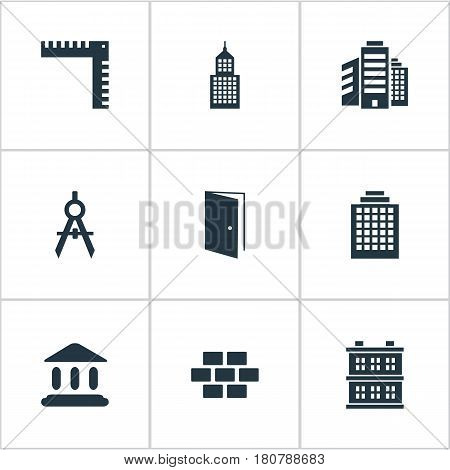 Vector Illustration Set Of Simple Architecture Icons. Elements Gate, Block, Superstructure And Other Synonyms Booth, Apartment And Realty.