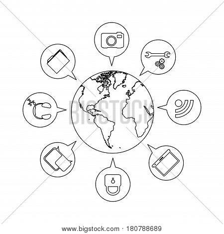 silhouette small earth world with circular dialogue social icons vector illustration
