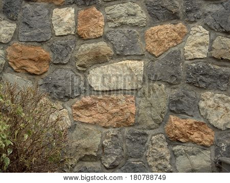 Masonry, stonework with bush in the corner. Classic stone texture suitable for all artwork. Colored stones.