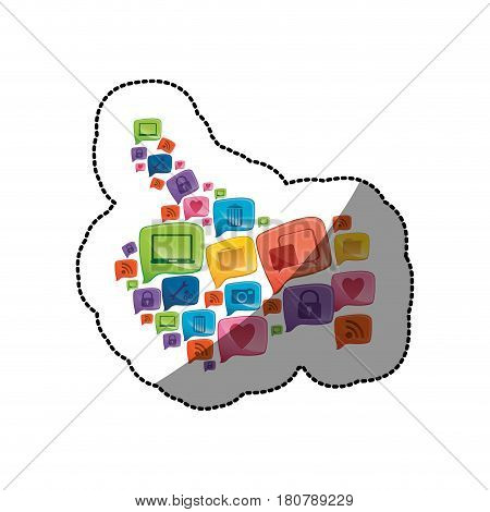 sticker colorful pattern abstract shape formed by callout social icons vector illustration