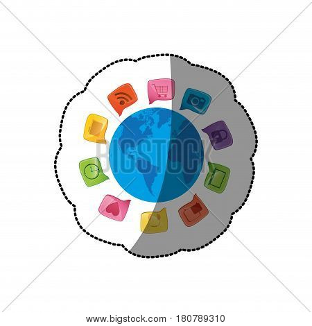 sticker small world map globe with square dialogue social icons vector illustration