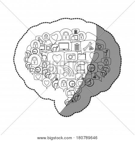 sticker silhouette pattern dialog shape formed by stacked callout social icons vector illustration