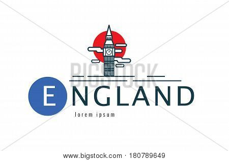 England logo. scene of Big Ben. flat thin line design element. vector illustration