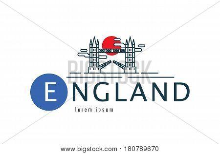 England logo. Tower Bridge scene. flat thin line design element. vector illustration