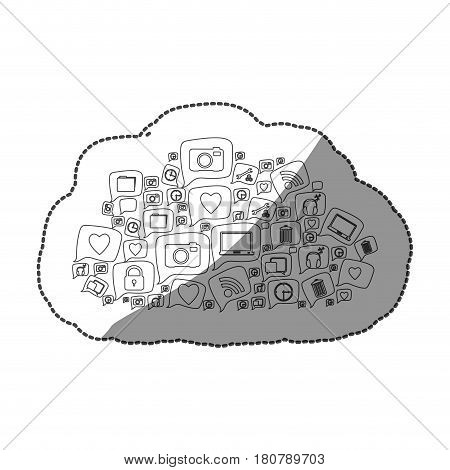 sticker silhouette pattern cloud shape formed by callout social icons vector illustration