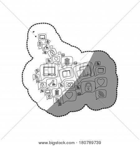 sticker silhouette pattern abstract shape formed by callout social icons vector illustration