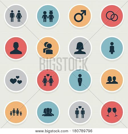 Vector Illustration Set Of Simple Couple Icons. Elements Double, Children, Wineglass And Other Synonyms Boy, Homosexual And Father.