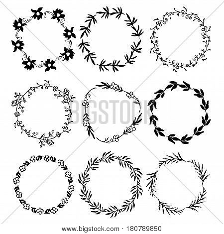 9 ink round floral frames. Hand drawn branches and flowers