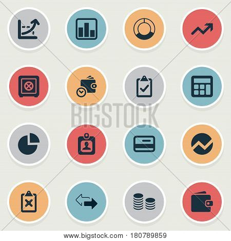 Vector Illustration Set Of Simple Investment Icons. Elements Rate, Calculator, Billfold And Other Synonyms Growth, Two And Division.