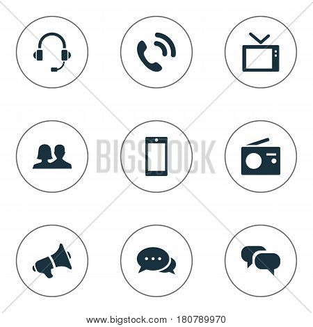 Vector Illustration Set Of Simple Transmission Icons. Elements Partnership, Conversation, Walkie And Other Synonyms Handset, Telly And Call.