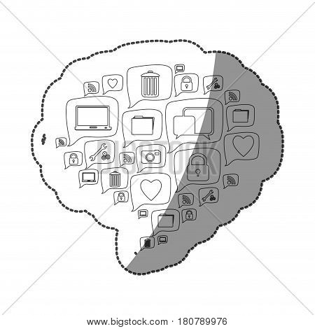 sticker pattern dialog shape formed by callout social icons vector illustration