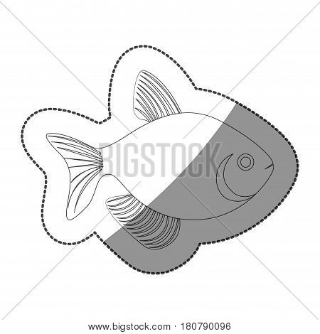 sticker silhouette fish aquatic animal icon flat vector illustration