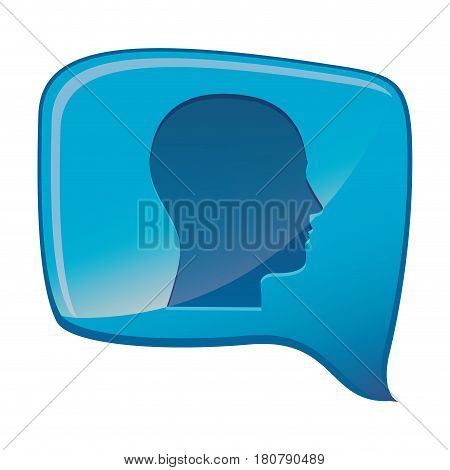 colorful relief rectangular speech with silhouette male head vector illustration