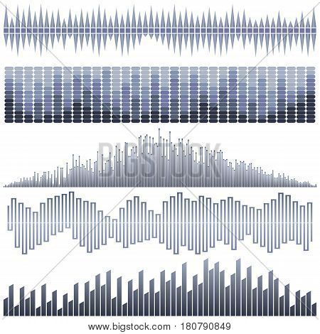 Vector set of dark blue sound waves. Audio equalizer. Sound & audio waves isolated on white background.