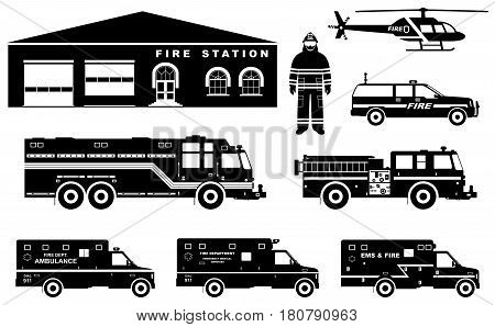 Detailed illustration of fireman, fire station building, firetruck and helicopter in flat style on white background in flat style on white background.