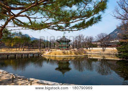 Hyangwon-Jeong pavillion at Gyeongbokgung Palace, Seoul - South Korea