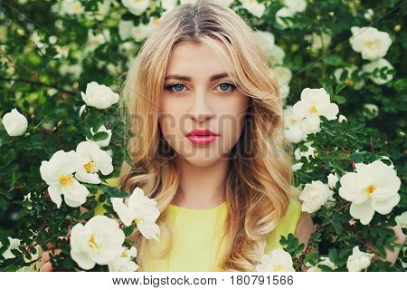 Beautiful happy woman with long curly hair smells white roses flower outdoors. Closeup portrait of sensual blonde girl face. Elegant lady in blossom garden, vintage toning.