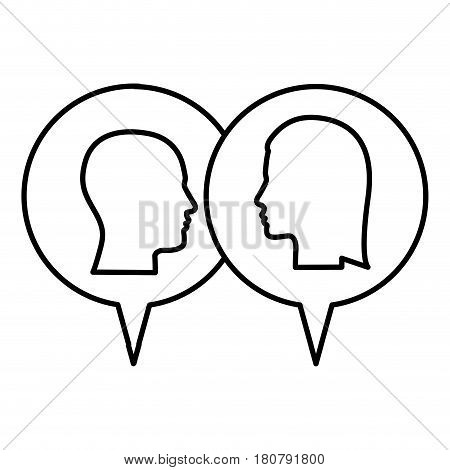 silhouette relief dialogue between man and woman vector illustration