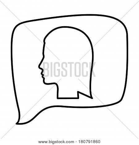 silhouette relief rectangular speech with silhouette female head vector illustration