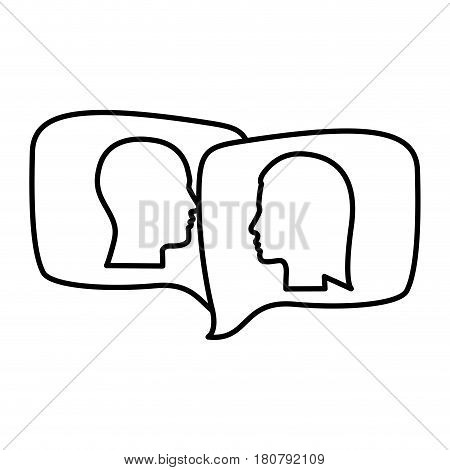 silhouette relief rectangular speech with dialogue between man and woman vector illustration