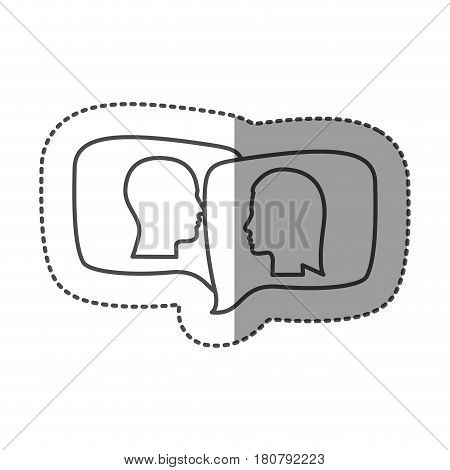 sticker silhouette relief rectangular speech with dialogue between man and woman vector illustration