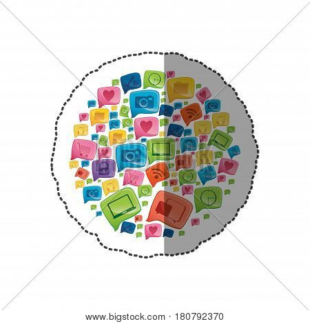 sticker circular shape colorful pattern formed by dialogue social icons vector illustration