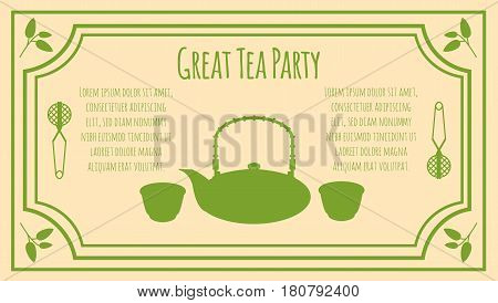 Tea party invitation card template with text green teapot bowls strainer and leaves silhouettes vector illustration