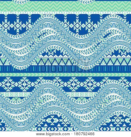 Abstract sea waves background. Ethnic seamless pattern ornament, blue geometric shapes. Tribal motives. Vector illustration.