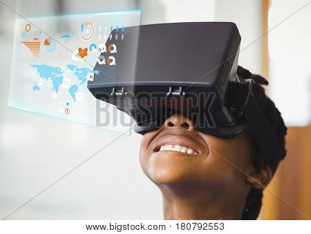 Digital composite of Boy wearing VR Virtual Reality Headset with Interface