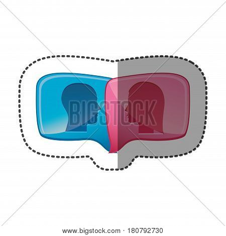 sticker colorful relief rectangular speech with dialogue between man and woman vector illustration