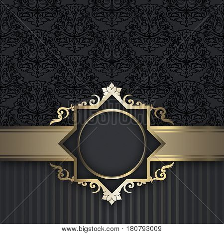 luxury background with decorative golden borderframe and vintage patterns.