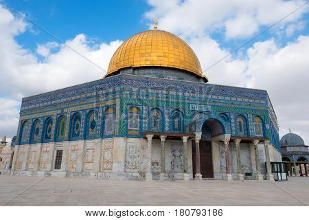 The Dome of Rock on the Temple Mount in the Old City of Jerusalem. The Dome was constructed by the order of Caliph Abd al-Malik and considered sacred to Muslims.