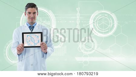 Digital composite of Doctor (men) with tablet with molecule graphic and technological background