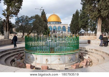 Jerusalem, Israel - December 29, 2016: The Dome of Rock on the Temple Mount in the Old City of Jerusalem. The Dome was constructed by the order of Caliph Abd al-Malik and considered sacred to Muslims.