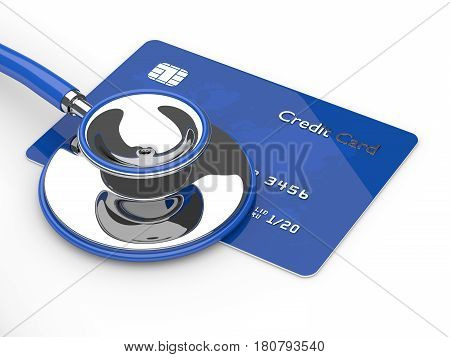 3D Render Of Credit Card With Stethoscope Over White