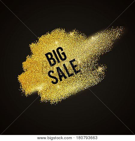 Abstract vector stippling texture brush. Sale template. Gold background sale