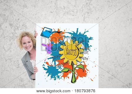 Digital composite of Portrait of businesswoman standing by billboard with cane watering success test on flower against gr
