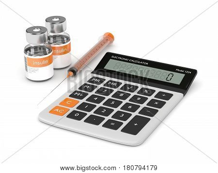 3D Render Of Calculator, Syringe, And Insulin Vials Over White
